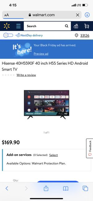 40 inch smart flat screen tv with tv wall mount for Sale in Houston, TX