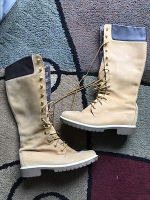 """Ladies Timberland 14"""" Tall Lace-up Boots - Great condition, but they do have some marks and scuffs from normal wear. Size 8 1/2 for Sale in Raleigh, NC"""