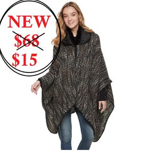 Brand new Women's poncho ruana wrap fur collar Retails for $68. New. Tags attached. Super soft and warm. Selling for $15. for Sale in Goleta, CA