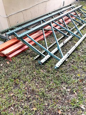 Warehouse metal shelves 3 uprights bar 6 crossbar for Sale in North Miami Beach, FL