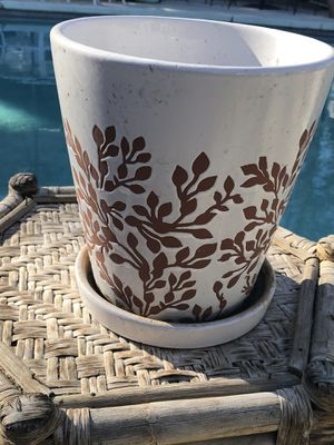 Heavy clay plant pot with attached saucer 9 inches high by 8 inches across for Sale in Modesto, CA