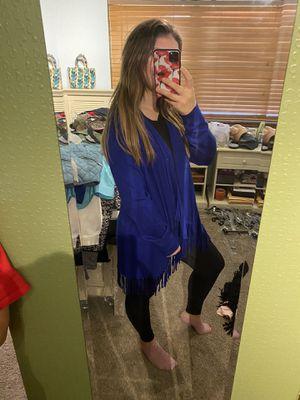 Royal blue fringe cardigan for Sale in Oklahoma City, OK