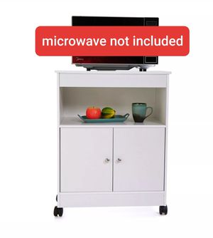 Kitchen Microwave Storage Cabinet Shelf Cart Rolling Two Doors Home White New for Sale in Los Angeles, CA