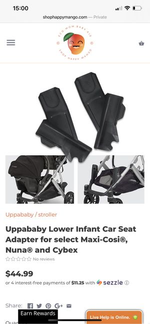 Uppababy lower infant car seat adapter for maxi-cosi, nuna, cybex for Sale in Washington, DC