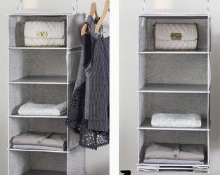 "StorageWorks 6-Shelf Hanging Closet Organizer, Hanging Shelves for Closet, Canvas, Gray, 13.6""W x 12.2""D x 42.5""H for Sale in La Mirada,  CA"