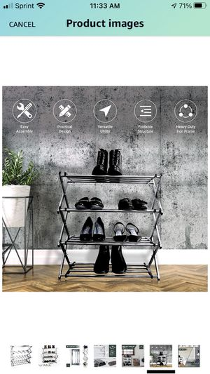 4-Tier Shoe Rack│Durable Stainless Steel Shoe Organizer│Stores Up to 12 Pairs of Shoes│Perfect for Closets and Entryways for Sale in Novi, MI