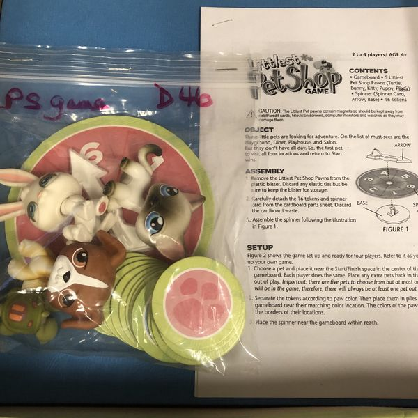 Littlest pet shop game w four pets game board instructions 16 tokens spinner