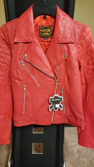 Candy apple red leather motorcycle jacket for Sale in Temple Hills, MD