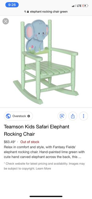 Teamson Kids Safari Elephant Rocking Chair- used for Sale in Florence Township, NJ