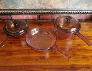 Vision cookware pots used clean all shown asking $10. for Sale in Middletown, NJ