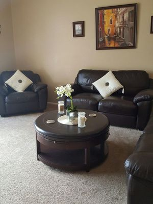 Moving must sell 3 piece abbyson real leather sofa love chair rich dark brown like new orderd direct from abbsons leather still like new for Sale in Sun City, AZ