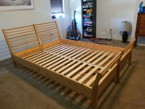 Queen Bed Frame Natural Wood IKEA Model for Sale in Lake Elsinore, CA