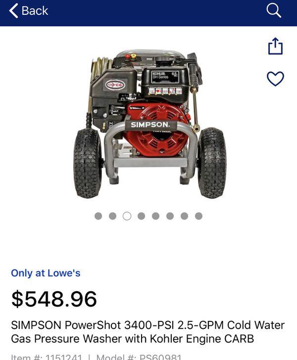 Simpson pressure washer 3400- psi