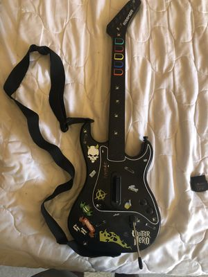 PS2 PlayStation 2 Guitar Hero Kramer Striker Wireless Guitar DONGLE & Strap Tested for Sale in Madera, CA