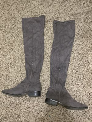 Aldo grey over the knee suede leather boots for Sale in Denver, CO