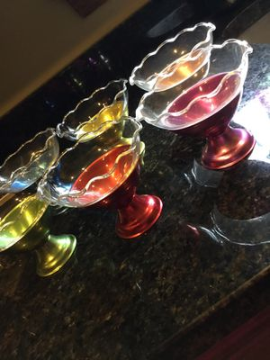 6 Mid Century Colored Aluminum and Glass Dessert Dishes for Sale in Waynesburg, PA