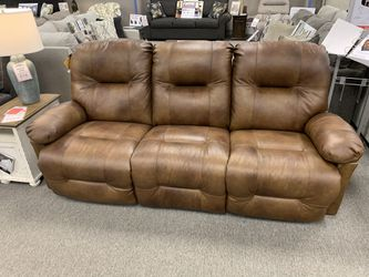 Custom made leather reclining sofa! Floor model clearance! Take home today! for Sale in Harmony,  PA