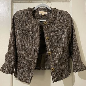 Michael Kors Cropped Fringe Tweed Blazer Jacket for Sale in Queens, NY