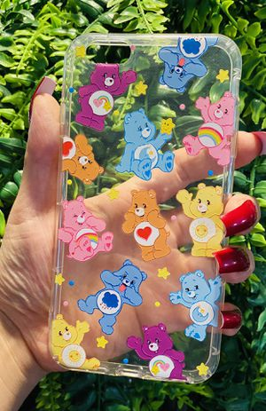 Brand new cool iphone 6+ PLUS case cover rubber silicone Clear transparent see through Care Bears 80's 90's baby cartoon girls women cute pretty for Sale in San Bernardino, CA