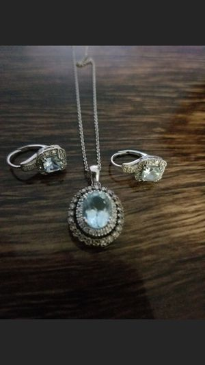 14kt chocolate aqua diamond necklace and earrings for Sale in Wheat Ridge, CO