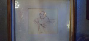 Vintage pencil drawing sketch of girl at park not sure the artist for sure but for Sale in Manvel, TX