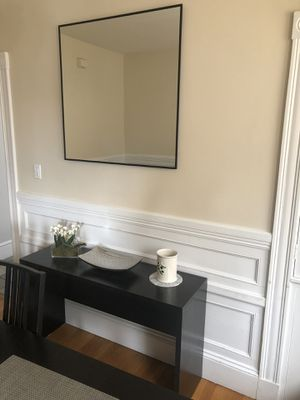 Console / sofa table / tv stand and large square mirror for Sale in Watertown, MA