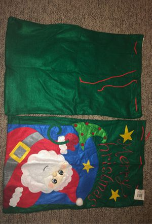 """2 Drawstring 28"""" x 17.75"""" Cloth Green Tree & Santa Claus Christmas Gift Bags for Presents or Gifts: Ornament, Decoration, Holidays, Festive, Kids for Sale in Plainfield, IL"""