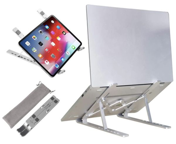 Adjustable Laptop Stand for Desk Aluminum Computer Riser Ergonomic Foldable Portable Tablet Holder Compatible with iPad MacBook Pro Air Lenovo Dell X