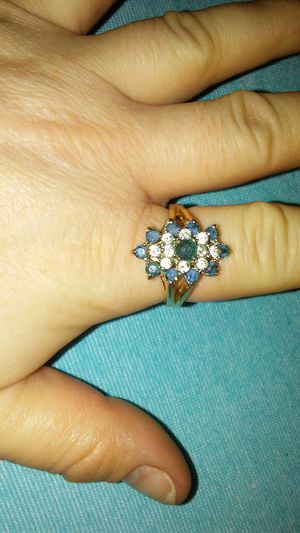Golden ring with a cluster of blue and clear stones for Sale in Killeen, TX