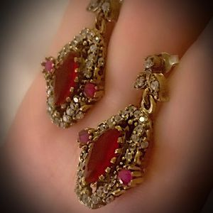 RUBY FINE ART DANGLE POST EARRINGS Solid 925 Sterling Silver/Gold WOW! Brilliant Facet Marquise/Round Cut Gems, Diamond Topaz M6310 V for Sale in San Diego, CA
