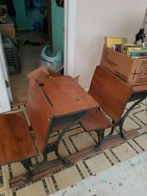 Double antique school desks on rails for Sale in Raleigh, NC