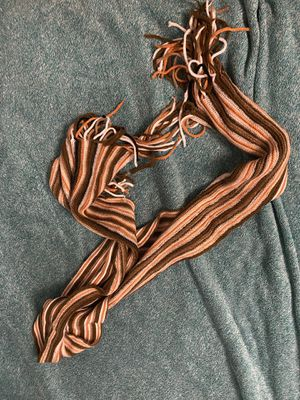 Brown Orange White Striped Cable-Knit Scarf for Sale in Ithaca, NY