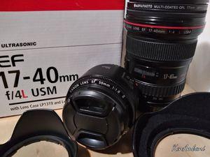 Canon Lenses---17-40mm EF f/4 L lens & 50mm 1:8 ii EF for Sale in Houston, TX