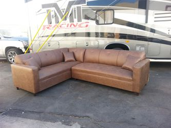 NEW 7X9FT CAMEL LEATHER SECTIONAL COUCHES for Sale in Buena Park,  CA