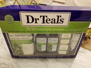 Dr Teal's Relax & Relief Bath & Body Gift Set. Eucalyptus & Spearmint Epsom Salt, Body Wash, Bath & Body Oil, Pillow Spray, Foaming Bath. for Sale in Milpitas, CA