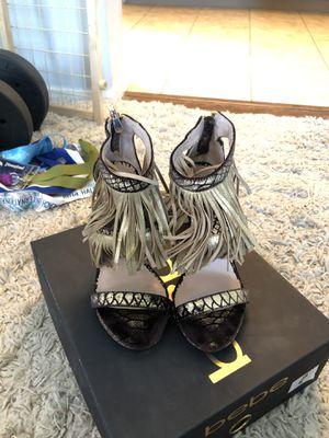 Size 6 Bebe Fringe Heels (Dark Brown & Gold) for Sale in Bakersfield, CA