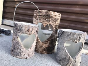 New Candle Holders / tree bark rustic home decor set of three for Sale in Virginia Beach, VA