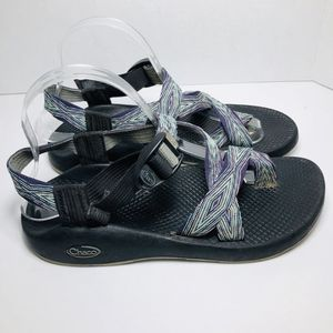 Chaco Z2 Yampa Womens 8 Sandals Toe Loop Purple Teal Beach Vibram Ankle Strap for Sale in Orlando, FL