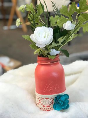 Coral and lace mason jar flower vase for Sale in Hillsboro, OR