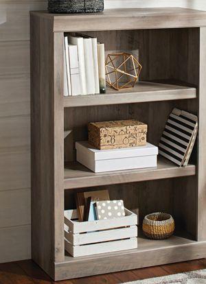 New!! Bookcase, bookshelves, organizer, 3 shelves solid wood bookcase, storage unit, living room furniture, entrance furniture , rustic gray for Sale in Phoenix, AZ