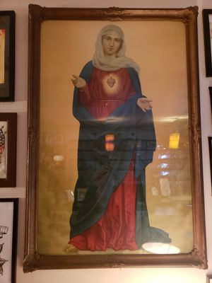 Late 1800s Virgin Mary Litho in Very Unique Frame for Sale in Seattle, WA