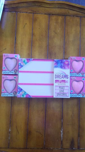 New girls toy beauty lot LOL bath bombs with surprises inside & light box room decor gift for Sale in Gilbert, AZ