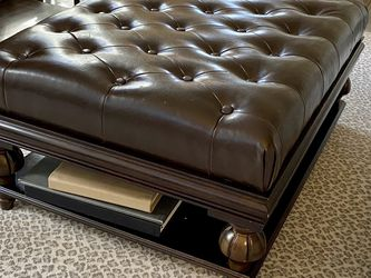 Tufted Brown Leather Ottoman for Sale in Atlanta,  GA