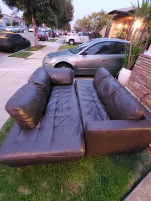 2 Piece Sectional Real Leather Couch for Sale in East Los Angeles, CA