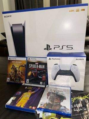PS5 DISC Bundle w/ Extra Controller & Spiderman Game SEALED NEW for Sale in Miami, FL