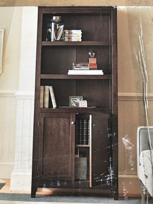 5 shelf bookcase with 2 doors cabinet Espresso Color good wood new in box never use for Sale in La Mesa, CA