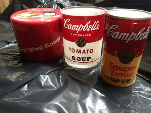 Campbell's vintage timer with/modern glass & storage container for Sale in Cleveland, OH