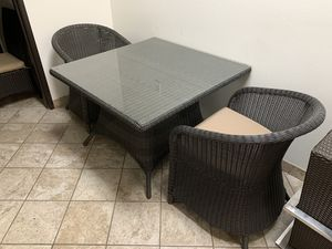 patio furniture 1 table with 2 chairs 399$ or 1 table with 4 chairs 599$ for Sale in Rancho Cucamonga, CA