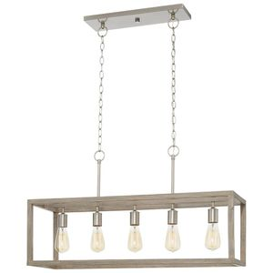 5-Light Brushed Nickel Island Chandelier with Weathered Wood Accents NEW for Sale in Fort Lauderdale, FL