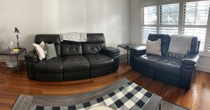 Two black leather couches for Sale in Tampa, FL